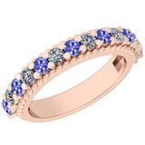 0.96 Ctw VS/SI1 Tanzanite And Diamond 14K Rose Gold Filigree Style Band Ring