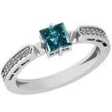 0.77 Ctw I1/I2 Treated Fancy Blue And White Diamond Platinum Ring