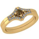 0.25 Ct Natural Yellow Diamond I2/I3And White Diamond I2/I3 10K Yellow Gold Vintage Style Ring