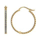 0.92 Ctw I2/I3 Diamond 10k Yellow Gold Hoop Earrings