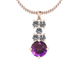4.00 Ctw Amethyst And Diamond I2/I3 14K Rose Gold Necklace