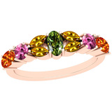 1.35 Ctw Multi Sapphire 14k Rose Gold Ring