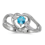 14k White Gold Round Blue Topaz And Diamond Heart Ring 0.27 CTW