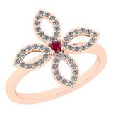 0.38 Ctw I2/I3 Ruby And Diamond 14K Rose Gold Ring