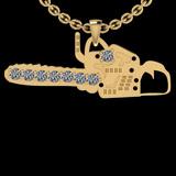 0.11 Ctw SI2/I1 Diamond 14K Yellow Gold Chain Saw Pendant