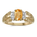 14k Yellow Gold Oval Citrine And Diamond Ring 0.65 CTW