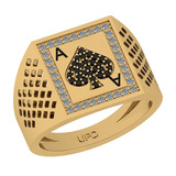 0.20 Ctw SI2/I1 Treated Fancy Black And White Diamond 14K Yellow Gold Gifts For Players Men's Ring