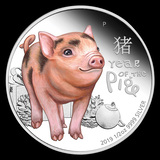 2019 Tuvalu 1/2 oz Silver Lunar Baby Pig Proof Colorized