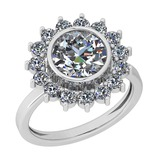 2.25 Ctw Diamond I2/I3 14K White Gold Vintage Style Halo Ring