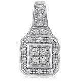 14K White Gold Square .50 Ct Diamond Fashion Antique Pendant