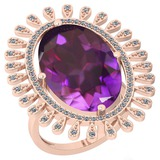 11.04 Ctw VS/SI1 Amethyst And Diamond 14k Rose Gold Victorian Style Ring