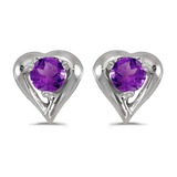 14k White Gold Round Amethyst Heart Earrings 0.16 CTW
