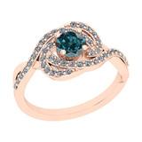 0.86 Ctw I2/I3 Treated Fancy Blue And White Diamond 14K Rose Gold Cluster Bridal Wedding Ring