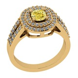 1.11 Ct GIA Certified Natural Fancy Yellow Diamond And White Diamond 18K Yellow Gold Engagement Ring