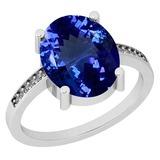 4.33 Ctw VS/SI1 Tanzanite And Diamond Platinum Ring