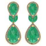 9.75 Ctw Emerald And Diamond I2/I3 14K Yellow Gold Earrings