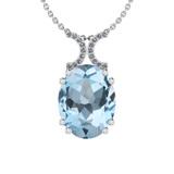 27.85 Ctw I2/I3 Blue Topaz And Diamond 14K White Gold Necklace