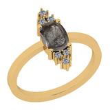 1.13 Ct Natural Salt Pepper Diamond I2/I3And White Diamond I2/I3 10K Yellow Gold Vintage Style Ring