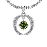 0.37 Ctw VS/SI1 Green Sapphire And Diamond Platinum Pendant