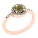 0.85 Ct Natural Yellow Diamond I2/I3And White Diamond I2/I3 14k Rose Gold Engagement Halo Ring