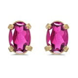14k Yellow Gold Oval Pink Topaz Earrings 0.86 CTW