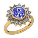 2.87 Ctw VS/SI1 Tanzanite And Diamond 14K Yellow Gold Vintage Style Ring