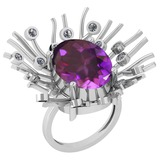 8.49 Ctw VS/SI1 Amethyst And Diamond 14k White Gold Victorian Style Ring