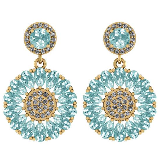 6.04 Ctw I2/I3 Aquamrine And Diamond 14K Rose Gold Earrings