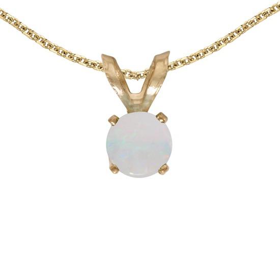 14k Yellow Gold Round Opal Pendant 0.09 CTW