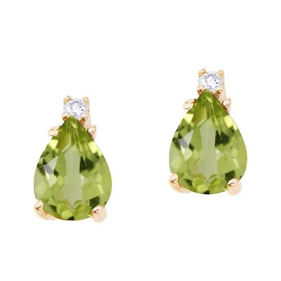 14k Yellow Gold Pear Shaped Peridot and Diamond Earrings 2.26 CTW