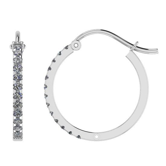 0.46 Ctw I2/I3 Diamond 10k White Gold Hoop Earrings