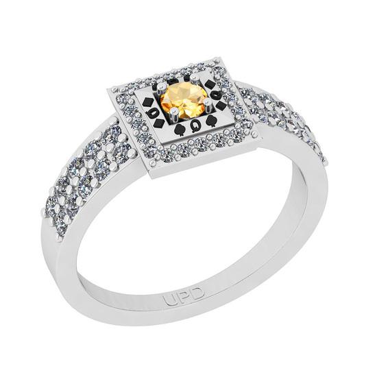 0.50 Ctw I2/I3 Citrine And Diamond 10K White Gold Poker Style Ring