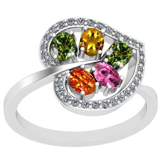 1.40 Ctw VS/SI1 Multi Sapphire And Diamond Platinum Ring