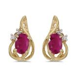 10k Yellow Gold Oval Ruby And Diamond Teardrop Earrings 0.76 CTW