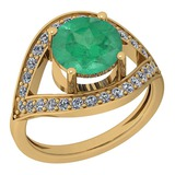 2.85 Ctw VS/SI1 Emerald And Diamond Platinum 14K Yellow Gold Plated Ring