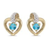 14k Yellow Gold Round Blue Topaz And Diamond Heart Earrings 0.23 CTW