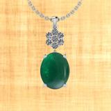 17.16 Ctw VS/SI1 Emerald And Diamond 14K White Gold Pendant
