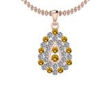 1.15 Ctw VS/SI1 Yellow Sapphire And Diamond 14K Yellow Gold Pendant Necklace