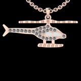 0.32 Ctw SI2/I1 Diamond 14K Rose And White Gold Two Tone Helicopter Pendant