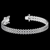 1.50 Ctw SI2/I1 Diamond 14K White Gold 2 Row Bracelet