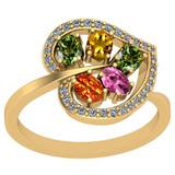 1.40 Ctw VS/SI1 Multi Sapphire And Diamond 14k Yellow Gold Ring