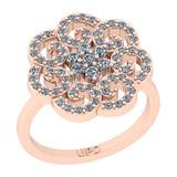0.75 Ctw SI2/I1 Diamond 14K Rose Gold Vintage Style Engagement Ring