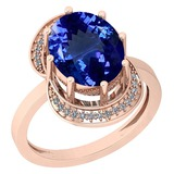 4.67 Ctw VS/SI1 Tanzanite And Diamond 14K Rose Gold Ring