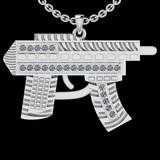 0.35 Ctw SI2/I1 Diamond 14K White Gold Gun Pendant