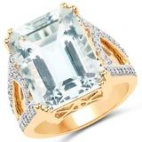 10.21 CTW Genuine Aquamarine and White Diamond 14K Yellow Gold Ring