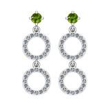 1.04 Ctw VS/SI1 Peridot And Diamond 10K Yellow Gold Dangling Earrings