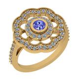 1.09 Ctw VS/SI1 Tanzanite And Diamond 14K Yellow Gold Engagement Halo Ring