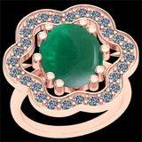 6.97 Ctw SI2/I1 Emerald And Diamond 14k Rose Gold Victorian Style Ring