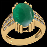 23.68 Ctw SI2/I1 Emerald And Diamond 14k Yellow Gold Victorian Style Ring