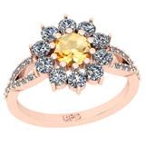 1.36 Ctw I2/I3 Citrine And Diamond 10K Rose Gold Engagement Halo Ring